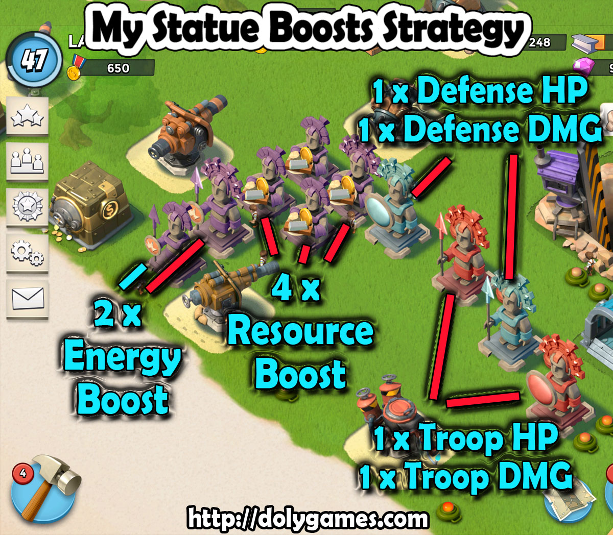 My Statue Boosts Strategy [Boom Beach]