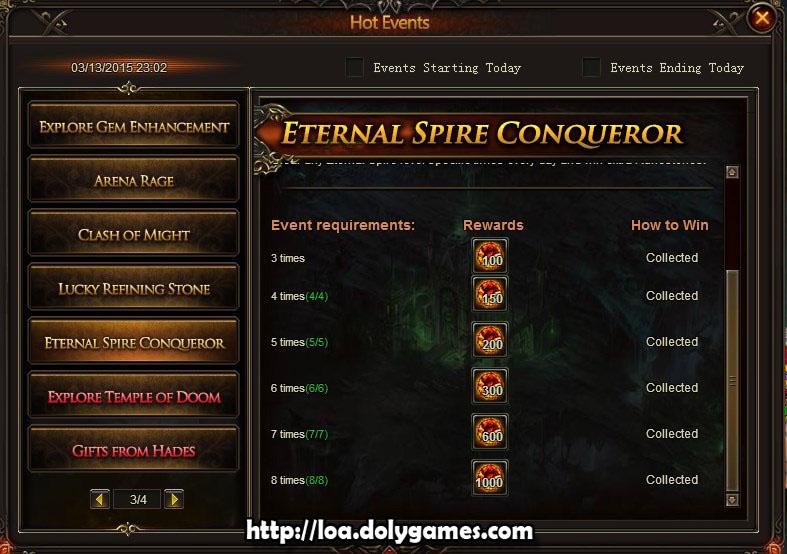 Eternal Spire Conqueror Hot Event