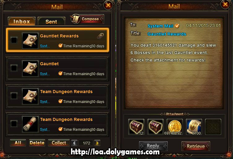LOA Gauntlet Achievement 12 April 2015 - damage reward