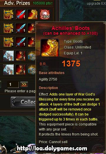 LOA Tycoon #1 reward - Achilles' Boots