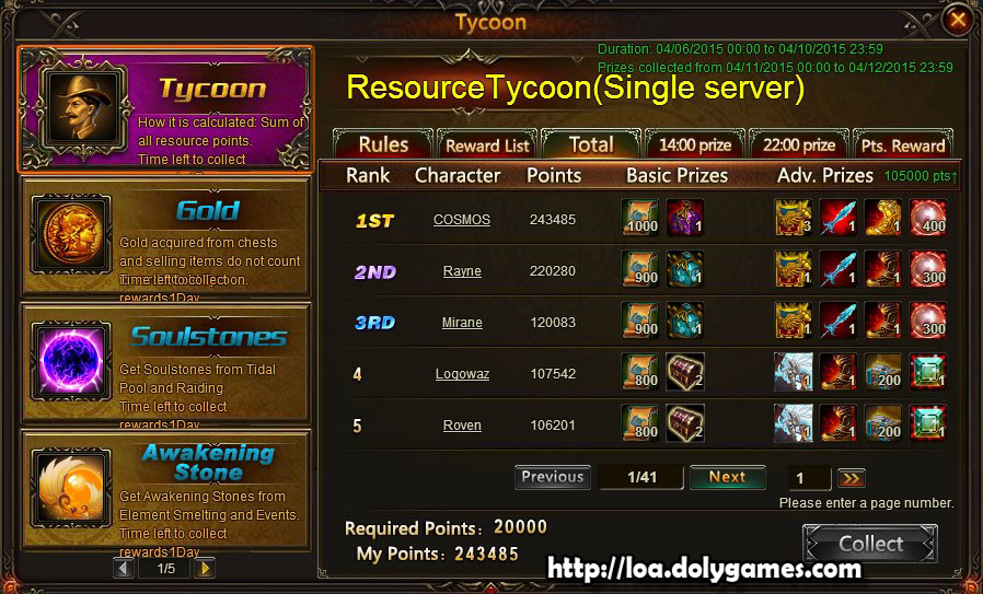 Resource Tycoon Single Server Rewards April 2015