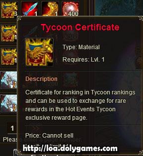 LOA Tycoon #1 reward - Tycoon Certificate