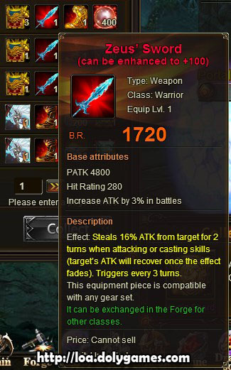 LOA Tycoon #1 reward - Zeus' Sword