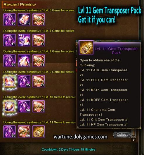 Lvl 11 Gem Transposer Pack Gem Event