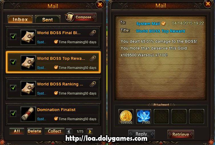 World Boss Final blow LOA damage