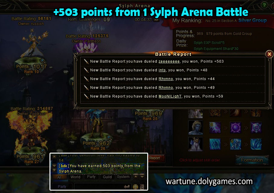 +503 points from 1 Sylph Arena Battle