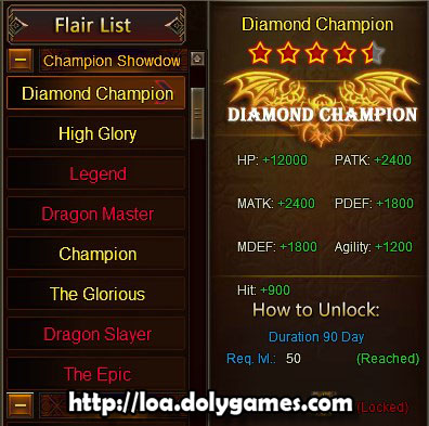 LOA Game Update 3.0389 - Champion Showdown Flairs