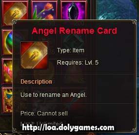 LOA Game Update 3,0385 - Angel Rename Card