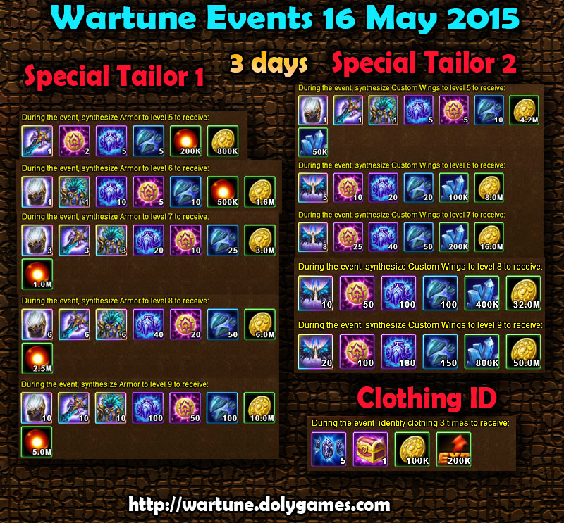 Wartune Events 16 May 2015
